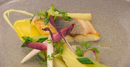 Shaun's pan fried sea bass with cucumber and orange sauce on MasterChef: The Professionals