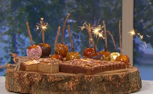Juliet Sear's tasty  bonfire treats with toffee apples on This Morning