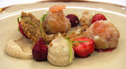 Mark's burnt tonka cream with strawberry beignets dessert on Masterchef The Professionals