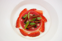 Calum's yuzu citrus panna cotta with strawberries on MasterChef: The Professionals