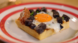 Paul Ainsworth buttermilk waffles with  black pudding fried eggs and golden raisin sauce on The  ...