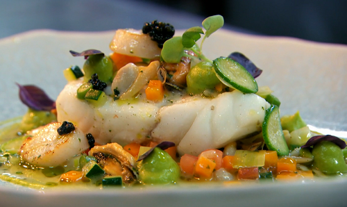 Michael Caines braised brill with mussels, clams, cockles and summer vegetables on MasterChef Th ...