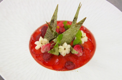 Luke's buttermilk and lime leaf panna cotta with wild strawberries on MasterChef The profe ...