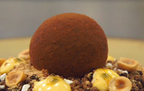 Matthew's chocolate and hazelnut sphere with passionfruit and yoghurt crisps on MasterChef ...