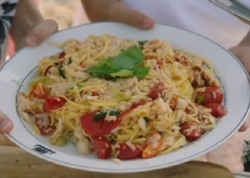 Jamie Oliver brown crab pasta with tomatoes, garlic and basil on Jamie and Jimmy's Friday  ...