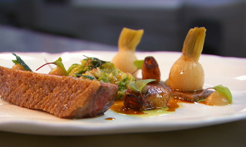 Michael Caines Chinese five spiced duck with cabbage and duck sauce on MasterChef The Profession ...