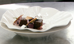 Michelle's muscovado and ginger sponge with cinnamon meringues and cherries on MasterChef  ...