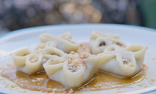 Nadiya Hussain Nepalese momos with apple filling and a saffron caramel sauce on Nadiya's Asian O ...