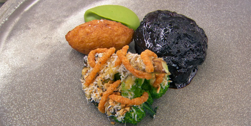 Mathew's braised ox cheeks with broccoli dish on MasterChef: The Professionals