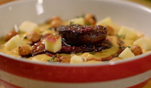 Paul Ainsworth mulled poached figs with vanilla rice pudding and fresh apples on The Best Christ ...