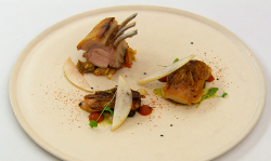 Lawrence's pork loin with pork belly and hispi cabbage main course on MasterChef: The Prof ...