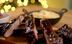 Catherine Fulvio's pork ribs with orange and pomegranate salsa on The Best Christmas Food Ever