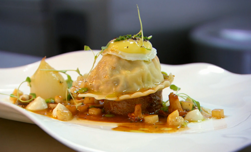 Michael Caines quail mousse ravioli on MasterChef The Professional 2018