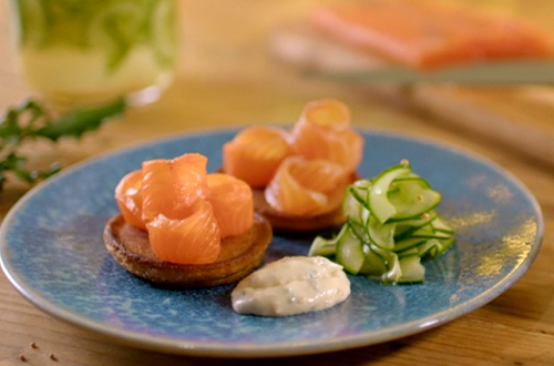 Paul Ainsworth brandy cured salmon with dropped scones and pickled cucumber on The Best Christma ...