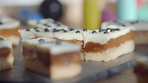 Liam Charles salted millionaire's  shortbread in dominoes style on Liam Bakes