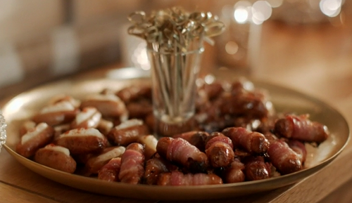 Mary Berry and Huw Edwards three sausage canapes (sausages with bacon, sausages with mash potato ...