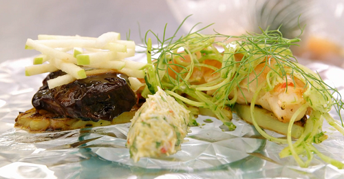Matthew's surf and turf with pork cheek, crab and lobster dish on MasterChef The Professio ...