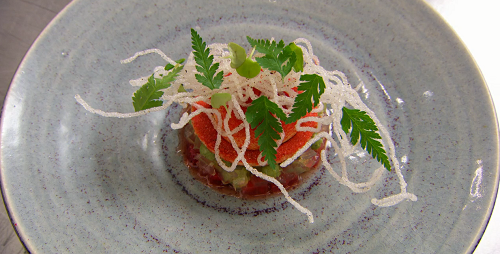 Olly's spaghetti bolognese inspired dessert with tomato jam on MasterChef The Professionals