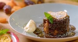 Catherine Fulvio' s sticky toffee pudding with Irish stout and cream sauce on The Best Chr ...