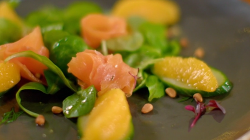 Catherine Fulvio lamb leaf salad with smoke trout, pine nuts and oranges on The Best Christmas F ...