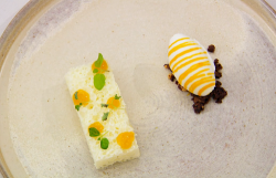 Lawrence's  aerated mint white chocolate with a lemongrass and coconut ice cream dessert on Mast ...