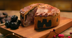 Josh Whitehead Yorkshire Christmas pie with black pastry on Mary Berry's Country House at  ...