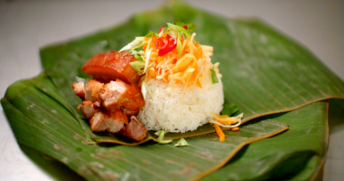 Lee and Sinead's Filipino pork with rice dish served at BBQ Dreamz on My Million Pound Menu