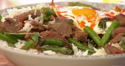 John's Bangkok beef kapow on Sunday Brunch