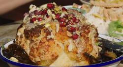 Jamie Oliver harissa roasted cauliflower with tahini, pomegranate and nuts on Jamie and Jimmy&#8 ...