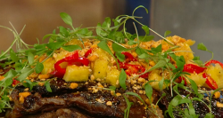 James Cochran slow braised jerk goat shoulder with polenta,  coriander and pineapple on Saturday ...