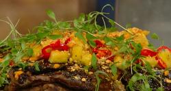 James Cochran slow braised jerk goat shoulder with polenta,  coriander and pineapple on Saturday ...