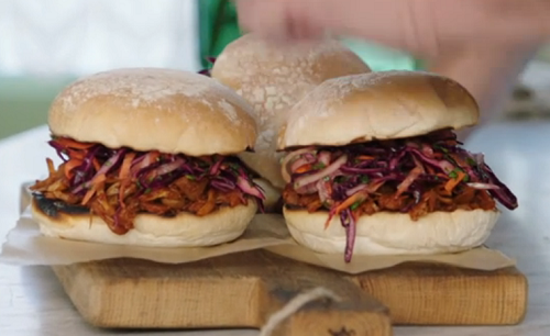Jade Crawford vegan pulled jackfruit burger buns on Jamie and Jimmy's Friday Night Feast
