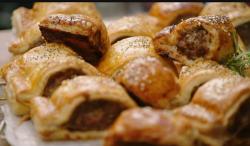 Jamie's egg glaze sausage rolls on Friday Night Feast