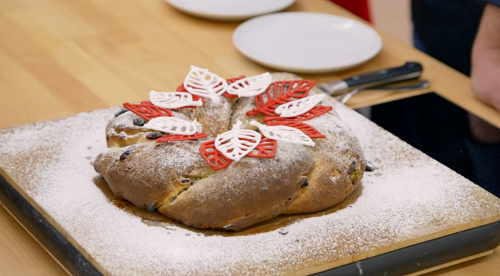 Tamal's orange and rum stollen with pistachio marzipan on The Great British Bake off for t ...