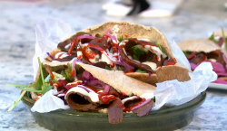 Matt Pritchard vegan kebab on Sunday Brunch