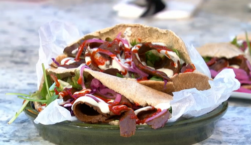 Matt Pritchard vegan kebab on Sunday Brunch