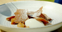 Dannii Barry's Bramley apple  terrine with ice cream dessert on James Martin's Great Briti ...