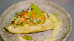 Damien's roast breadfruit with lobster and salt fish on Ainsley's Caribbean Kitchen