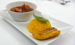 Carise' Jamaican brown stew chicken with pumpkin rice and plantain on Masterchef 2019