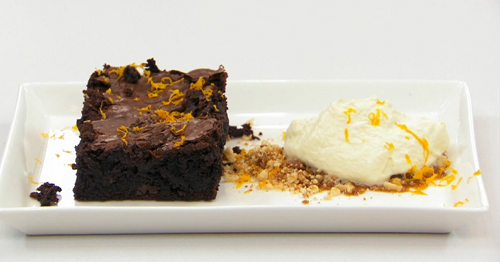 Sonia's chocolate fudge brownie with hazelnut praline and a toffee and vodka cream on Mast ...