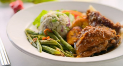 Kenneth's  chicken curry with green seasoning, rum and  greens beans  on Ainsley's Caribbe ...