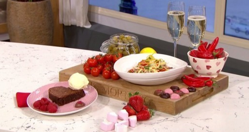 Phil and Holly's  linguine with crab, cherry tomatoes and Prosecco wine  using Gino' ...