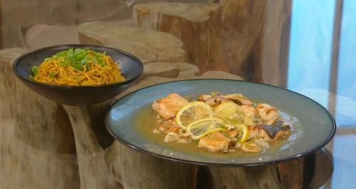 Ken Hom lemon fish with noodles on Saturday Kitchen