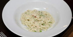 Kelly Saynor's  salmon and peas pasta on Eat Well for Less