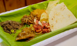 Tara's vegetarian sada roti with tomato choka on Ainsley's Caribbean Kitchen