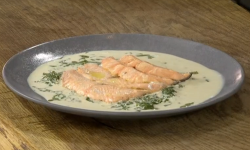 James Martin salmon with sorrel and courgettes on James Martin's Saturday Morning