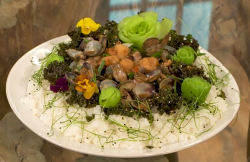 Ching's stir fry seafood (clams and scallops)  in black bean sauce on Saturday Kitchen