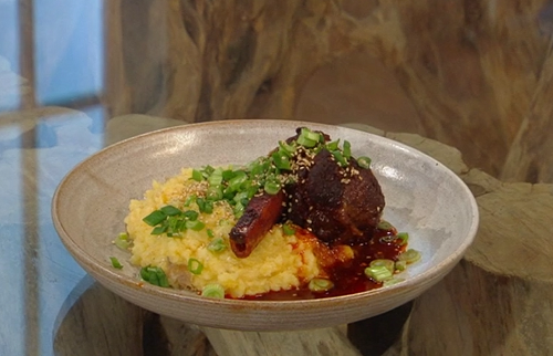 Jordan  Bourke's slow roast lamb shanks with swede and potato mash on Saturday Kitchen