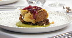 Panisha's spiced sausage Wellington with red onion bhaji and coriander  pea puree on Maste ...