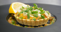 Panisha's spice vegetable tart with onions with a tomato and coriander relish on Masterche ...